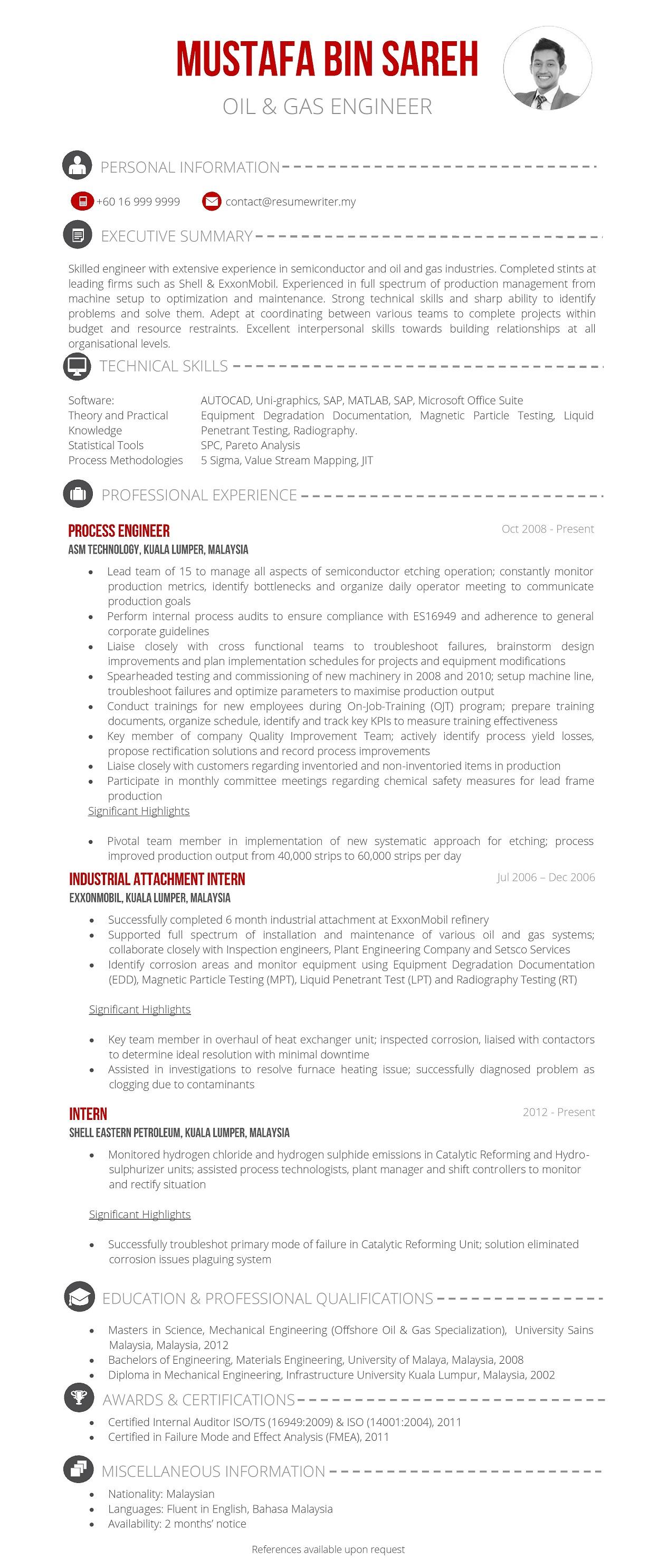 resume for maintenance engineer